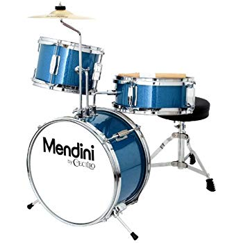 Mendini By Cecilio 13 Inch 3-Piece Kids/Junior Drum Set With Adjustable Throne, Cymbal, Pedal & Drumsticks
