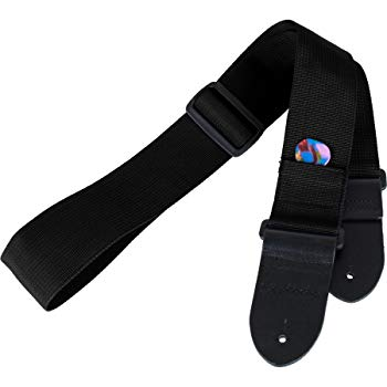 Protec Guitar Strap With Leather Ends And Pick Pocket