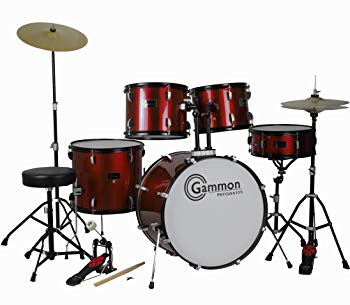 Gammon Percussion Drum Set Wine Red 5-Piece Complete Full Size