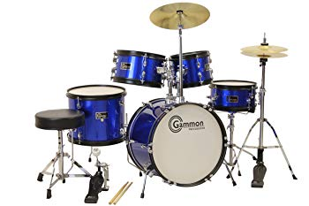 Gammon 5-Piece Junior Starter Drum Kit With Cymbals, Hardware, Sticks, Throne.