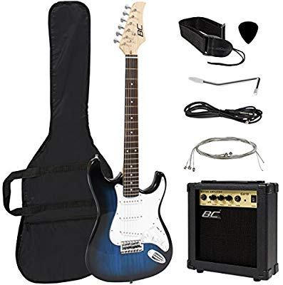 Best Choice Full-Size Blue Electric Guitar With Amp, Case And Accessories Pack Beginner Starter Package