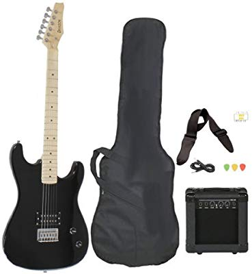 Davison Guitars Full-Size Black Electric Guitar With Amp, Case And Accessories Pack Beginner Starter Package