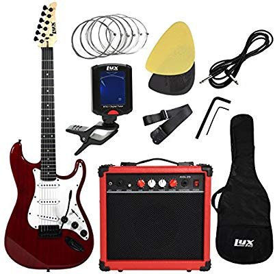 LyxPro Complete Beginner Starter Kit Pack Full Size Electric Guitar With 20W Amp Package