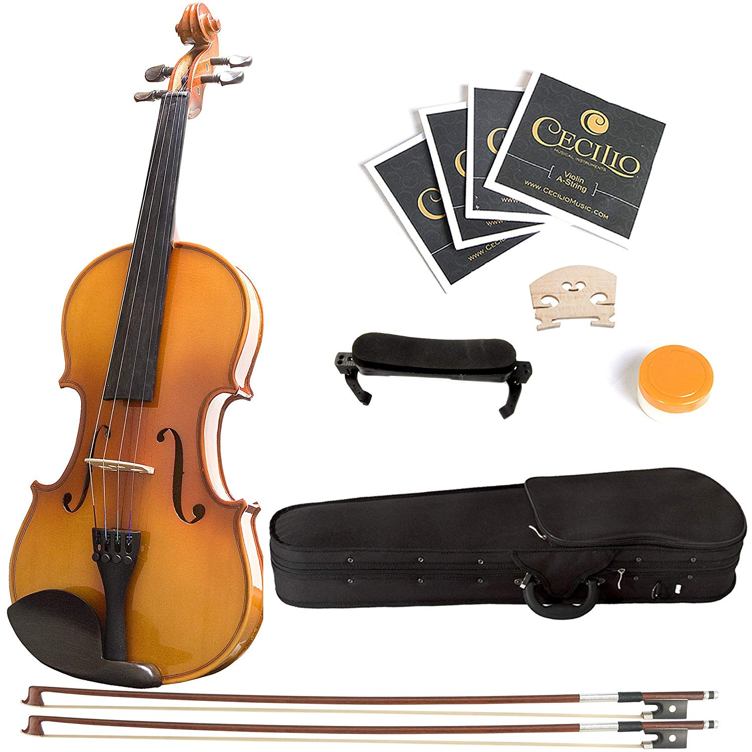 Mendini ¾ MV400 Ebony Fitted Solid Wood Violin