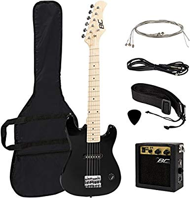 New 30 Kids Black Electric Guitar With Amp & Much More Guitar Combo Accessory Kit