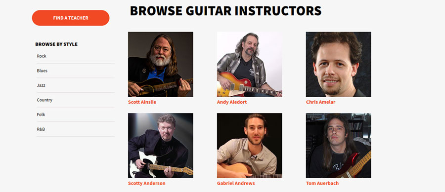 Some of the instructors on the Guitar Instructor website.