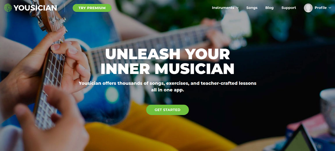 The Yousician home page.